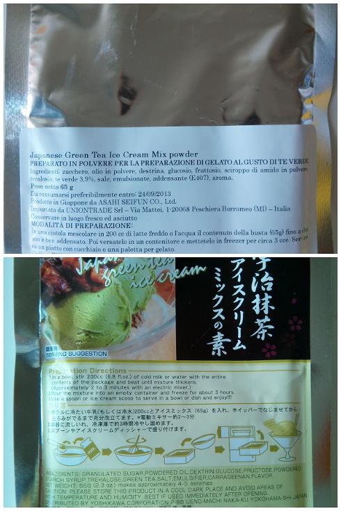 Un preparato in polvere per il gelato al the verde
